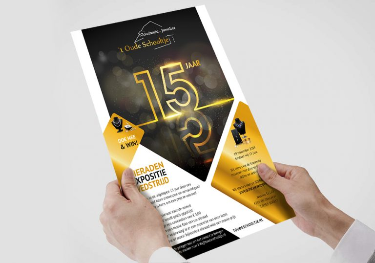 Flyer en posters 15 jaar juwelier 't Oude Schooltje